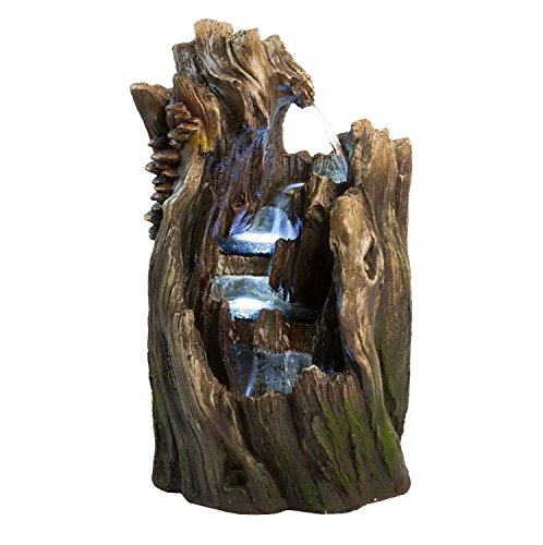 22-Walnut-Log-IndoorOutdoor-Garden-Fountain-Tiered-Outdoor-Water-Feature-for-Gardens-Patios-Original-Hand-crafted-Design-w-LED-Lights-0