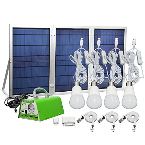 30W-Panel-Foldable-HKYH-Solar-Panel-Lighting-Kit-Solar-Home-DC-System-Kit-USB-Solar-Charger-with-4-LED-Light-Bulb-as-Emergency-Light-and-5-Mobile-Phone-Charger5V-2A-Output-Can-Charge-Power-Bank-0-0