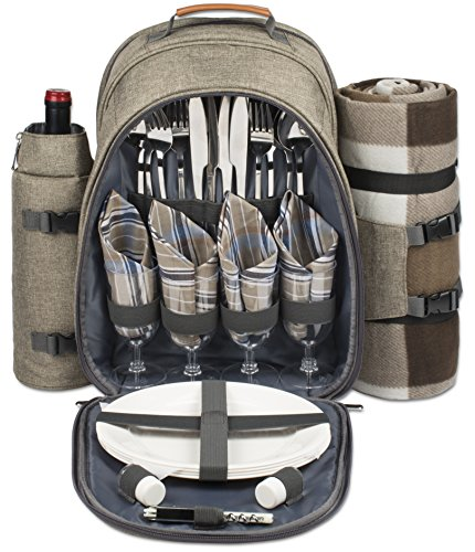 4-Person-Picnic-Backpack-With-Cooler-Compartment-Detachable-BottleWine-Holder-Oversized-Fleece-Blanket-Plates-and-Cutlery-Set-0