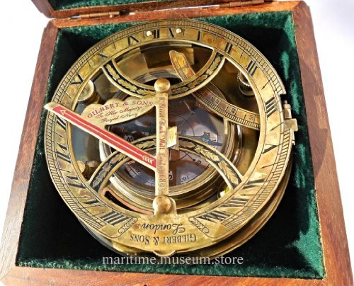5-Inch-Perfectly-Calibrated-Large-Sundial-Compass-Rosewood-Case-Top-Grade-C-3050-0