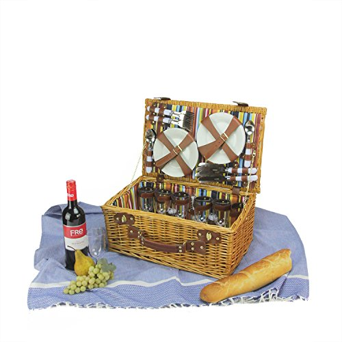 6-Person-Hand-Woven-Honey-Willow-and-Striped-Picnic-Basket-Set-with-Accessories-0