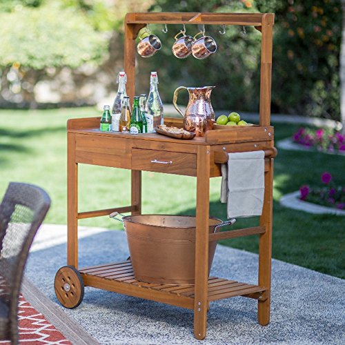 Acacia-Wood-Garden-Potting-Bench-Sink-with-Storage-Drawer-Elevated-Shelf-Wooden-Workstation-Outdoor-Patio-Furniture-Side-Planting-Table-Rolling-Portable-Bar-Cart-on-Wheels-0