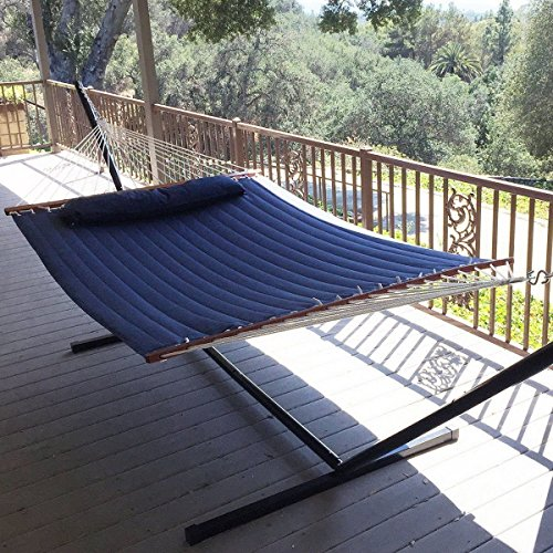 Airblasters-NEW-Hammock-Quilted-Fabric-with-Pillow-Double-Size-Spreader-Bar-Heavy-DutyBlue-0