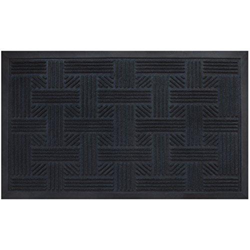 Alpine-Neighbor-Doormat-Low-Profile-Outdoor-Black-Door-Mat-Washable-Cross-Hatch-Outdoor-Rubber-Front-Entrance-Floor-Shoes-Rug-Garage-Entry-Carpet-Decor-for-House-Patio-Grass-Water-0