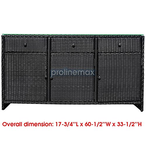 BLACK-3-Drawers-Wicker-Rattan-Buffet-Serving-Cabinet-Table-Towel-Dining-Dish-China-Storage-Counter-Outdoor-0-0