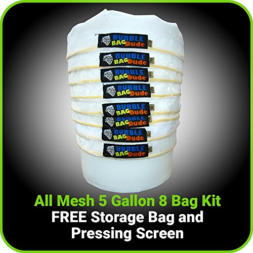 BUBBLEBAGDUDE-All-Mesh-5-Gallon-8-Bag-Herbal-Hash-Ice-Extractor-Kit-Comes-with-Pressing-Screen-and-Storage-Bag-0-0
