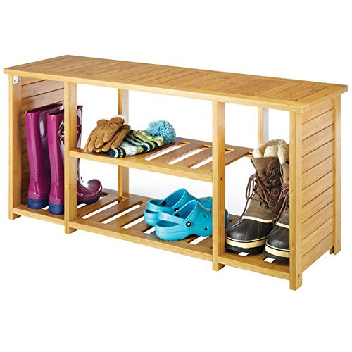 Bamboo-Shoe-Bench-Shelf-Organizer-Tan-Finish-0