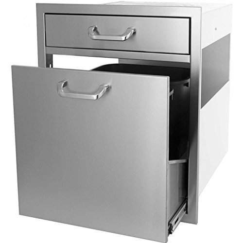 Bbqguyscom-Kingston-Series-20-inch-Single-Drawer-Roll-out-Stainless-Steel-Trash-Recycling-Bin-Combo-0-0