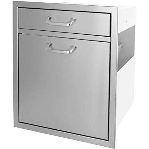 Bbqguyscom-Kingston-Series-20-inch-Single-Drawer-Roll-out-Stainless-Steel-Trash-Recycling-Bin-Combo-0-1