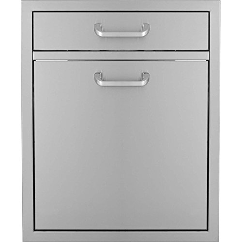 Bbqguyscom-Kingston-Series-20-inch-Single-Drawer-Roll-out-Stainless-Steel-Trash-Recycling-Bin-Combo-0