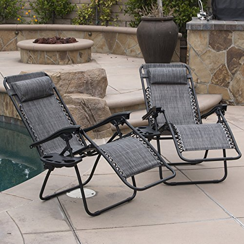 Bellezza-Premium-Patio-Chairs-Zero-Gravity-Folding-Recliner-and-Drink-Tray-Set-of-2-Gray-0-0