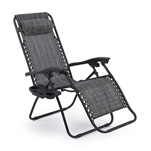 Bellezza-Premium-Patio-Chairs-Zero-Gravity-Folding-Recliner-and-Drink-Tray-Set-of-2-Gray-0-1