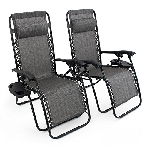 Bellezza-Premium-Patio-Chairs-Zero-Gravity-Folding-Recliner-and-Drink-Tray-Set-of-2-Gray-0