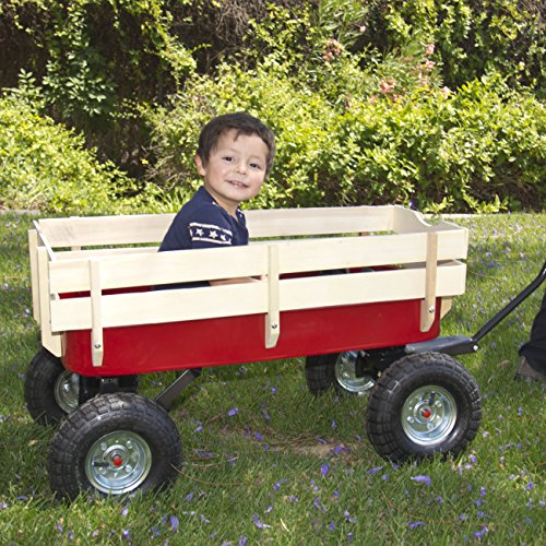 Best-Choice-Products-Wood-Wagon-ALL-Terrain-Pulling-Red-w-Wood-Railing-Children-Kid-Garden-Cart-0-0