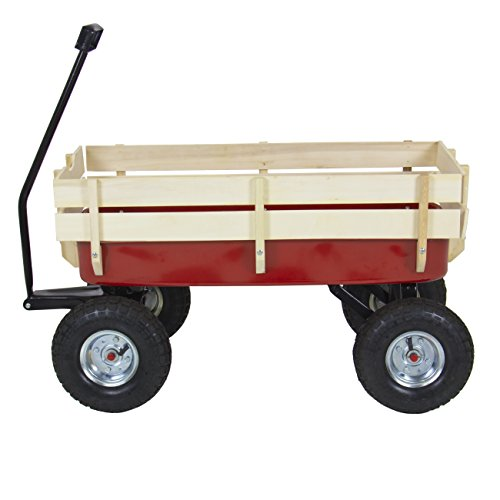 Best-Choice-Products-Wood-Wagon-ALL-Terrain-Pulling-Red-w-Wood-Railing-Children-Kid-Garden-Cart-0-1