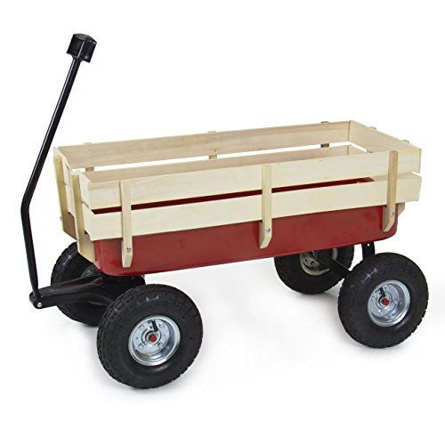 Best-Choice-Products-Wood-Wagon-ALL-Terrain-Pulling-Red-w-Wood-Railing-Children-Kid-Garden-Cart-0