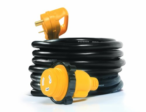 Camco-55501-PowerGrip-25-Cord-with-30-AMP-Male-Standard30-AMP-Female-Locking-Adapter-0