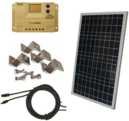 Complete-30-Watt-Solar-Panel-Kit-30W-Polycrystalline-Solar-Panel-20A-Charge-Controller-MC4-Connectors-Mounting-Z-brackets-for-12V-Off-Grid-Battery-Charging-Boat-RV-Gate-0