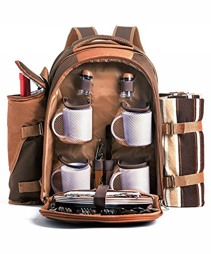 Cwhcoltd-Picnic-Backpack-Bag-for-4-Person-With-Cooler-Compartment-Detachable-BottleWine-Holder-Fleece-Blanket-Plates-and-Cutlery-Set-Perfect-for-Outdoor-Sports-Hiking-Camping-BBQsD-Coffee-0-0