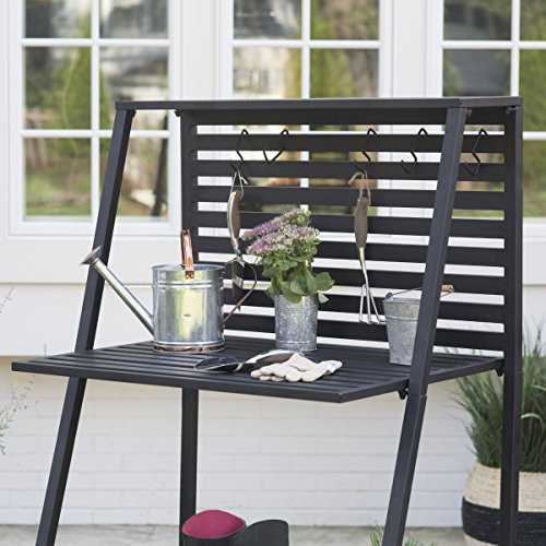 Danbury-Outdoor-Powder-Coated-Steel-Potting-Bench-Comes-in-a-Classic-Black-Finish-with-Bottom-Shelving-to-Keep-you-Organized-Assembly-is-Required-0-0