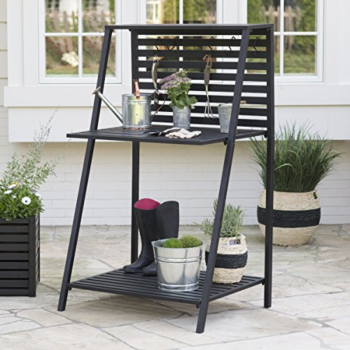 Danbury-Outdoor-Powder-Coated-Steel-Potting-Bench-Comes-in-a-Classic-Black-Finish-with-Bottom-Shelving-to-Keep-you-Organized-Assembly-is-Required-0