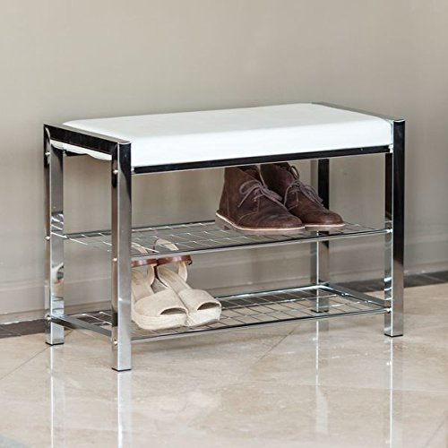 Danya-B-White-Leatherette-Storage-Entryway-Bench-with-Chrome-Frame-HA16832-0