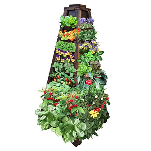 Earth-Tower-Vertical-Garden-4-sided-Wooden-Planter-on-Wheels-0