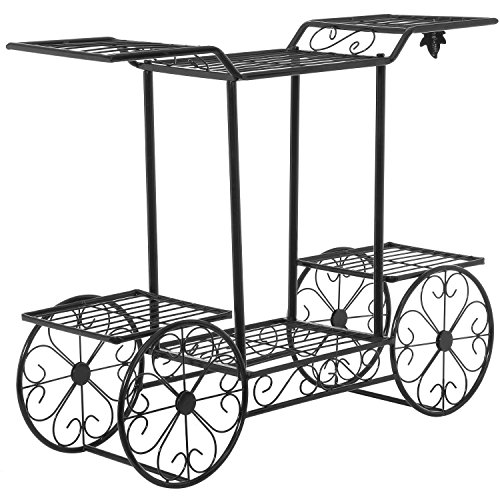 Elegant-European-Style-Cart-Design-6-Tier-Black-Metal-Planter-Flower-Pot-Holder-Display-Rack-Stand-0-0