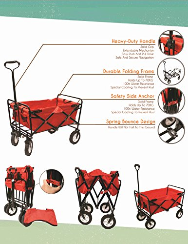 Everyday-Sports-Next-Generation-Utility-Folding-Wagon-with-Removable-Polyester-Bag-Spring-Bounce-Feature-Auto-Safety-Locks-Handle-Steering-Performance-Scarlet-Red-0-0