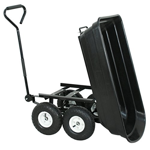 F2C-Poly-Garden-Dump-Cart-Heavy-Duty-Dumper-75L-650lb-Capacity-with-Steel-Frame-Pneumatic-Air-Tires-0