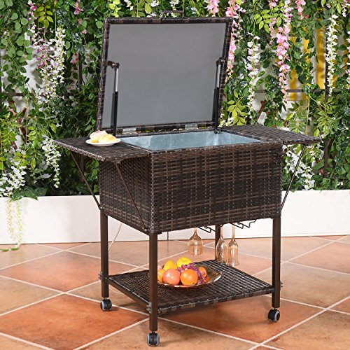 Giantex-Portable-Rattan-Cooler-Cart-Trolley-Outdoor-Patio-Pool-Party-Ice-Drinks-Brown-0-0