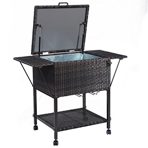 Giantex-Portable-Rattan-Cooler-Cart-Trolley-Outdoor-Patio-Pool-Party-Ice-Drinks-Brown-0