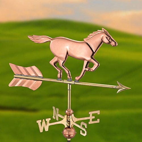 Good-Directions-1912P-Jumping-Horse-Rider-Weathervane-Copper-0-0