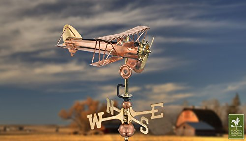 Good-Directions-8812PR-Biplane-Cottage-Weathervane-Polished-Copper-with-Roof-Mount-0-0