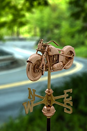 Good-Directions-8846PR-Motorcycle-Cottage-Weathervane-Polished-Copper-with-Roof-Mount-0-0