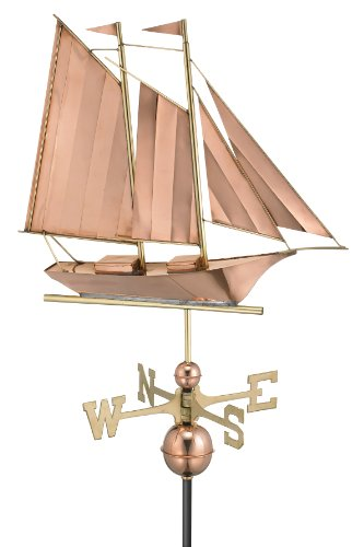 Good-Directions-9601P-Schooner-Weathervane-Polished-Copper-0