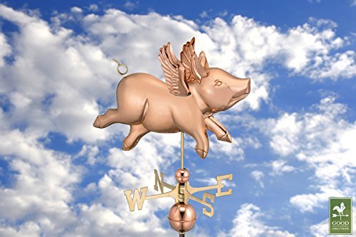Good-Directions-9612P-Flying-Pig-Weathervane-Polished-Copper-0-1