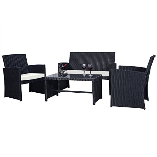 Goplus-4-PC-Rattan-Patio-Furniture-Set-Black-Wicker-Garden-Lawn-Sofa-Cushioned-Seat-0