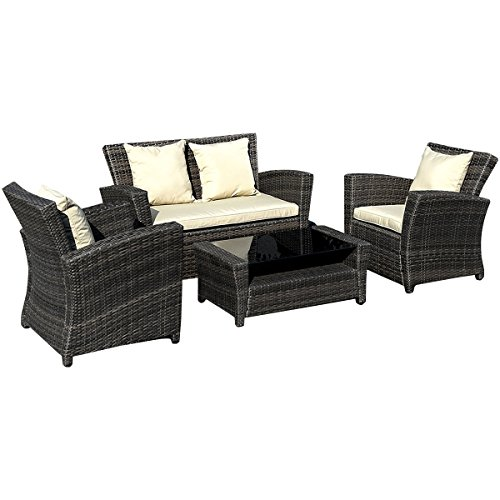 Goplus-4-PCS-Brown-Wicker-Cushioned-Rattan-Patio-Set-Garden-Lawn-Sofa-Furniture-Seat-0