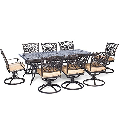 Hanover-Traditions-9-Piece-Dining-Set-with-Eight-Swivel-Dining-Chairs-and-a-Large-Dining-Table-84-x-42-0