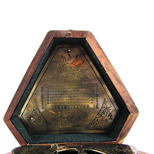 Heavy-Brass-Maritime-Sundial-Navigational-Compass-w-Box-0-0