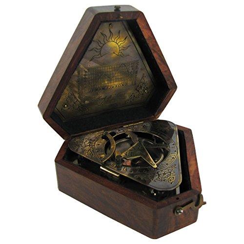 Heavy-Brass-Maritime-Sundial-Navigational-Compass-w-Box-0-1