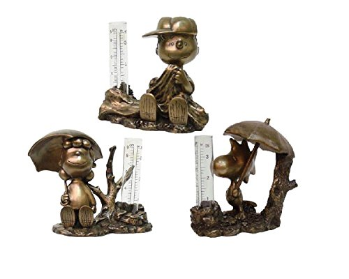 Homestyles-Peanuts-51505-Linus-Lucy-and-Woodstock-Collectors-Set-of-3-Rain-Gauge-Antique-Bronze-Figurines-from-The-Snoopy-Peanuts-Garden-Statue-Collection-0