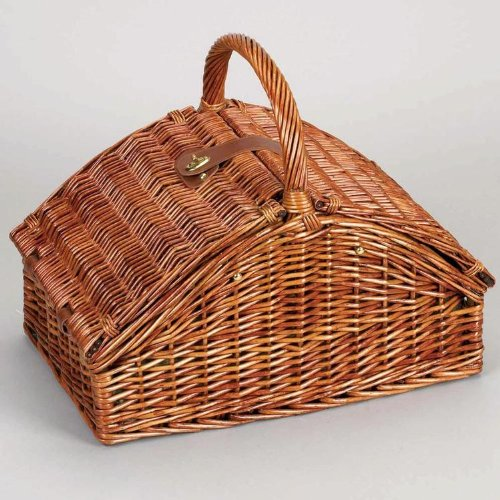 Household-Essentials-Woven-Willow-Picnic-Basket-Square-Shaped-Fully-Lined-Service-for-4-0-0