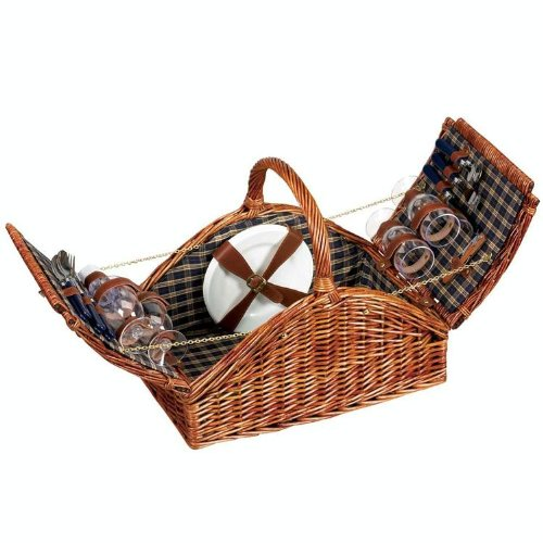 Household-Essentials-Woven-Willow-Picnic-Basket-Square-Shaped-Fully-Lined-Service-for-4-0