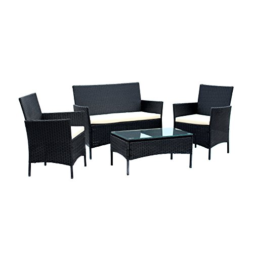 IDS-Home-Compact-4-PC-OutdoorIndoor-Rattan-Patio-Furniture-Set-Black-Wicker-Garden-Lawn-White-Cushioned-Sofa-Seat-Coffee-Table-0