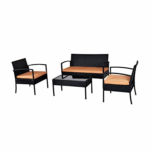 IDS-Home-Outdoor-Garden-Lawn-Patio-Furniture-Sofa-Set-PE-Rattan-Wicker-CreamBrown-Cushioned-Black-Seat-table-4-Piece-0-0