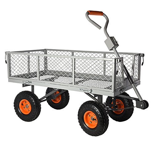 Ivation-Garden-Cart-Steel-Mesh-Convertible-Flatbed-Utility-Wagon-400-Lb-Load-Capacity-Measures-34-x-18-x-21–Removable-Sides-NON-SMELL-Wheels-0