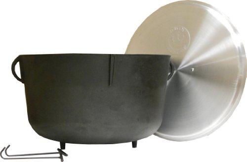 King-Kooker-5940-10-Gallon-Heavy-Duty-Cast-Iron-Jambalaya-Pot-with-Feet-and-Aluminum-Lid-0