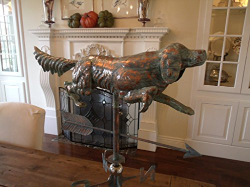 LARGE-Handcrafted-3-Dimensional-Full-Body-DOG-Weathervane-Copper-Patina-Finish-0-1